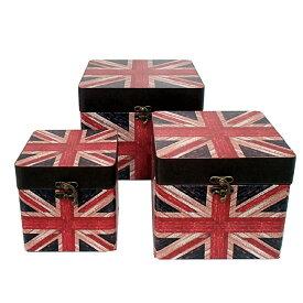 【ユニオンジャック スクエアケース】ボックス 箱 アンティーク レトロ 古びた 小物入れ 収納 四角 ふた付き コンパクト ユニオンジャック 国旗 デザイン 3個セット ディスプレイ 送料無料