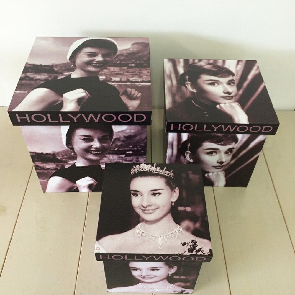 【ハリウッドボックス】ボックス 紙製 箱 アンティーク レトロ 古びた 小物入れ 収納 四角 ふた付き コンパクト ハリウッド オードリー・ヘプバーン 人物 デザイン モノクロ ディスプレイ 3個セット 送料無料
