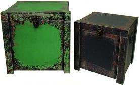 【ツールボックス型ケース】緑 グリーン 四角 正方形 ボックス ケース 箱 アンティーク レトロ 小物入れ 収納 ふた付き コンパクト デザイン 2個セット ディスプレイ 送料無料