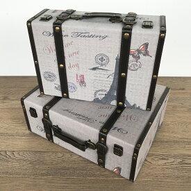 【ファブリックスーツケース】天使 ボックス ケース トランクケース 箱 アンティーク 小物入れ 収納 ふた付き コンパクト 取っ手 デザイン 2個セット ディスプレイ 送料無料