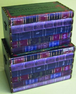 【ブックプリントケース】本 ボックス ケース 箱 アンティーク レトロ 古びた 小物入れ 収納 ふた付き コンパクト デザイン 2個セット ディスプレイ 送料無料