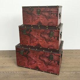 【古代地図トランクケース】ボックス 箱 アンティーク レトロ 古びた 小物入れ 収納 ふた付き コンパクト ケース トランクケース 地図 デザイン 3個セット ディスプレイ 送料無料