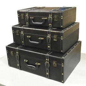 【レザー調ケース】レザー ボックス ケース トランクケース 箱 アンティーク レトロ スタッズ 小物入れ 収納 ふた付き コンパクト デザイン 3個セット セット ディスプレイ 送料無料
