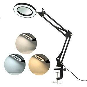 色:ブラック サイズ:Small Tomshine 拡大鏡 スタンドルーペ クリップ式 倍率8倍 レンズ直径10.5CM LEDライト付き 360*角度調整可能 読書 新聞 地図 ジュエリー 手芸 虫眼鏡 USB給電 (ブラック, S)