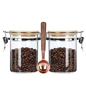 サイズ:800ML x 2 + スプーン KKC ガラス密閉保存瓶 コーヒー豆保存容器 珈琲豆保存容器 密閉容器 キャニスター コーヒー豆保存瓶 砂糖 紅茶収納 円筒形密封びん (800ML 2個,スプーン搭載)