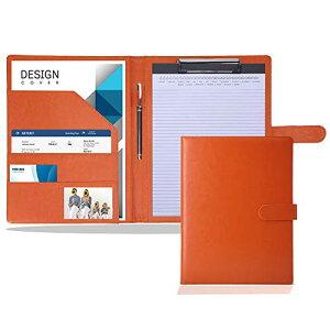 色:オレンジ バインダー a4 レザー クリップボード 革 多機能フォルダー カード名刺入れ 【複数のカラーがある】クリップファイル 二つ折り 360度折り返し 高級感 軽量 入職プレゼント (オ