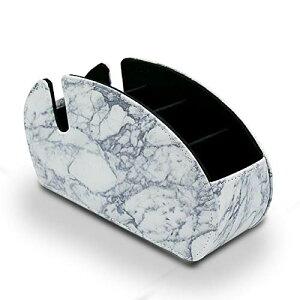 色:B-大理石1 ペン立て 眼鏡スタンド リモコンラック 化粧品収納 小物入れ 分格?? 北欧 おしゃれ 卓上多機能収納 PUレザー 収納ボックス (B-大理石1)