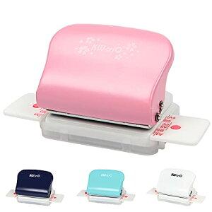 色:ピンク AmzBarley ルーズリーフパンチ 穴あけパンチ 事務器 携帯便利 6ホールパンチ A4/B5/A5対応 穴あけ5枚 30穴/26穴/20穴/6穴/DIY (ピンク)