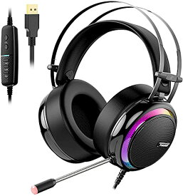 ゲーミングヘッドセット USBヘッドセットTronsmart バーチャル7.1chサラウンドサウンド、ノイズキャンセリングマイク/LEDライト/50MMドライバー/ミュート制御/USB有線 重低音強化 高音質 PCゲーマ