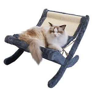 BingoPaw 猫ベッド ハンモック 置き型 折りたたみ 5キロ大型猫用 小型犬/うさぎ ソファーベッド フェルト生地 おもしろ おしゃれ もこもこ ふわふわ 爪研ぎ/猫用おもちゃボール付 冬/夏 通年