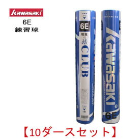 【10ダースセット/ 超特価】Kawasaki 6E 練習球 バドミントンシャトル 川崎 / カワサキ