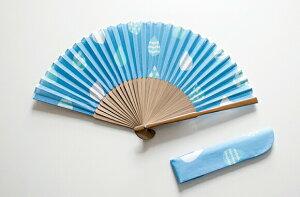 扇子 新日本カレンダー ainaシリーズNO.714 ドロップ【女性用 かわいい オシャレ シンプル 青】