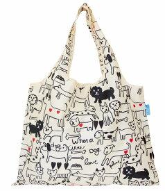 【エコバッグ】【マイバッグ】【プレーリードッグ】【かわいい】【たためる】【堀内映子】プレーリードッグShopping Bag モノトーンドッグ DJQ-10117-PO