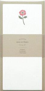 モワ・エ・フルール 一筆箋レターセットanemoneMOF-002エル・コミューン【かわいい 大人 手紙 便箋 封筒 誕生花 ニ月】