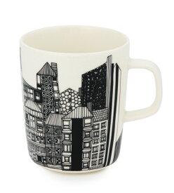 【marimekko】 Siirtolapuutarha(シイルトラプータルハ) マグカップ ブラック×オレンジ /コップ ティー用品 コーヒー用品 マリメッコ