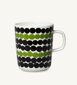 【marimekko】 Siirtolapuutarha(シイルトラプータルハ) マグカップ ホワイト×ブラック×グリーン /コップ ティー用品 コーヒー用品 マリメッコ