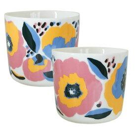 【marimekko】Rosarium (ロサリウム)コーヒーカップ2個セット(ハンドルなし) ホワイト×レッド /コップ ティー用品 コーヒー用品 マリメッコ