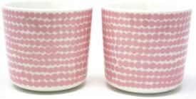 【marimekko】 Siirtolapuutarha(シイルトラプータルハ) マリメッコ ラテマグ ペア 2個セット ホワイト×ピンク/コップ ティー用品 コーヒー用品 マリメッコ