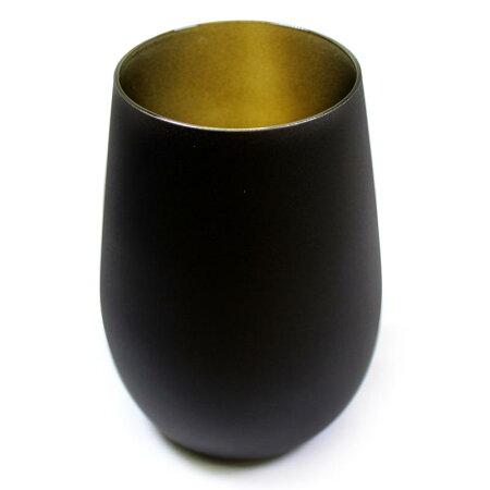 【ブラック】メタルカラータンブラータンブラー460mlグラステーブルウェア食器ガラスギフトプレゼントカラフルドイツ製