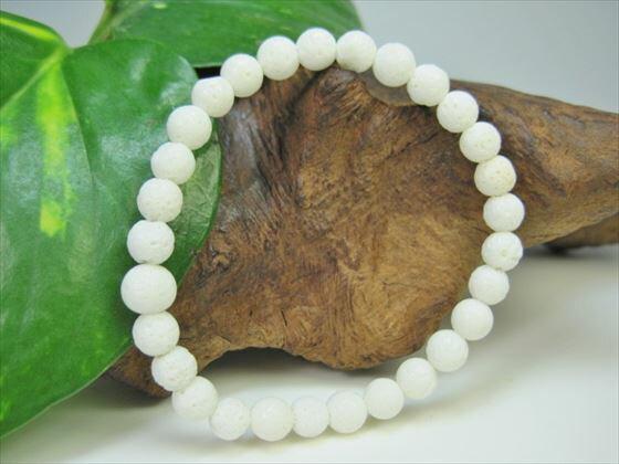 【均一ブレスレット】天然ホワイトコーラル(白珊瑚)Φ6.3±0.2mm