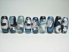 ※訳あり※【チベット高級天珠】手彫り龍神天珠青縞メノウ30×12±1mm【シルバー】