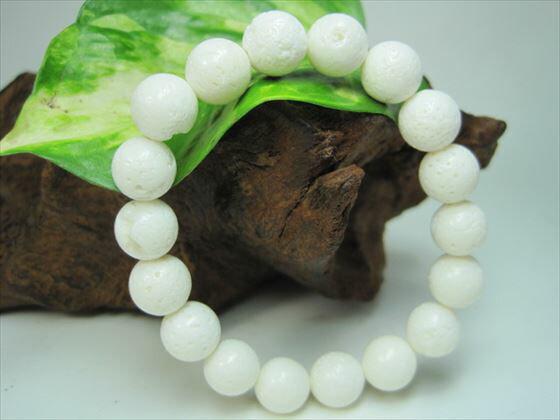 【均一ブレスレット】天然ホワイトコーラル(白珊瑚)Φ10±0.3mm