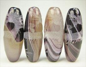 【チベット高級天珠】手彫り龍神天珠紫縞メノウ40×15mm【素彫り】