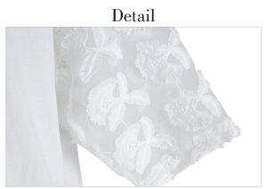 刺繍レース切り替え花柄レースボリューム袖トップスレディース2018春【3枚可】