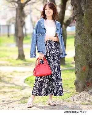花柄プリーツスカートプリーツロングスカート細プリーツプリーツスカート花柄総柄ウエストゴムフラワープリントレディースボトムススカート