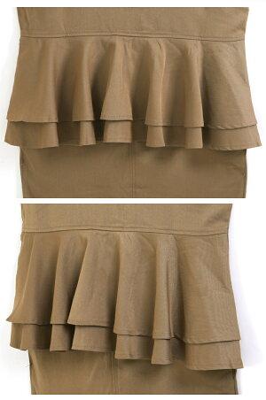 バックフリル深Vネックジャンパースカート