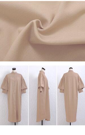 2wayシャツワンピースわんぴワンピワンピースシャツシャツワンピ体系カバーロングワンピースふわり袖バルーン袖ラウンドヘムスタンドカラー