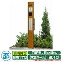 機能門柱 機能ポール YKKap ルシアス機能門柱 B01型 照明付きタイプ 前入れ横出し T9R型ポスト(素地色)×ポール(木…