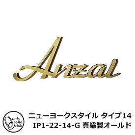 表札 アルミ表札 ニューヨークスタイル タイプ14 IP1-22-14-G 真鍮製オールド 特別カラー NEW YORK STYLE オンリーワンクラブ