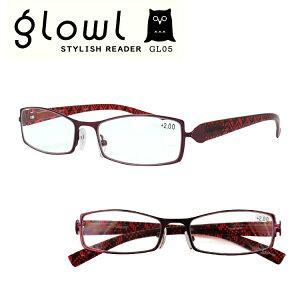 老眼鏡 メンズ レディース おしゃれ リーディンググラス 男性用 女性用 glowl ワインレッド 赤 スタイリッシュ 目立つ シャープ GL05 シニアグラス 初めて 30代 40代 読書 スマホ 秋 ブランド 柄