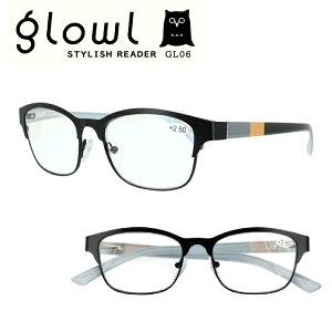 老眼鏡 メンズ レディース おしゃれ リーディンググラス 男性用 女性用 glowl ブラック 黒 スタイリッシュ シャープ インテリ GL06 シニアグラス 初めて 30代 40代 読書 スマホ 秋 ブランド シン