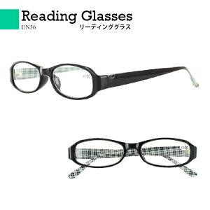 老眼鏡 おしゃれ 見やすい リーディンググラス シニアグラス 見えるんデス UN36 オーバル セルフレーム 男性 女性 メンズ レディース ブラウン チェックプリント クリア 6度数展開 ファッショ