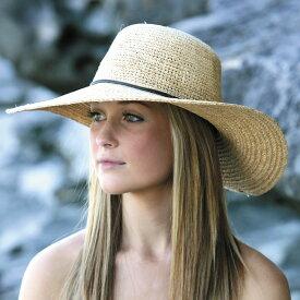 麦わら帽子 レディース(ストローハット ラフィア)UVカット - ハット - つば広ラフィア ★つば広 ハット つば広帽 女優帽 日よけ 日よけ帽子 UV対策 UV対策帽子 UVハット 紫外線対策 ハット 春 夏 ストローハット 母の日 ギフト