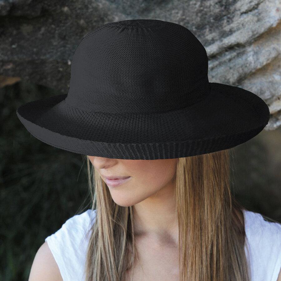 ハット レディース UVカット 帽子(女性用) - 帽子 - シルエットスタイル ladies レデイース レディス uv 夏 ぼうし カラー:ブラック※紫外線カット(UVカット)最高値UPF50+ ハット 母の日 ギフト
