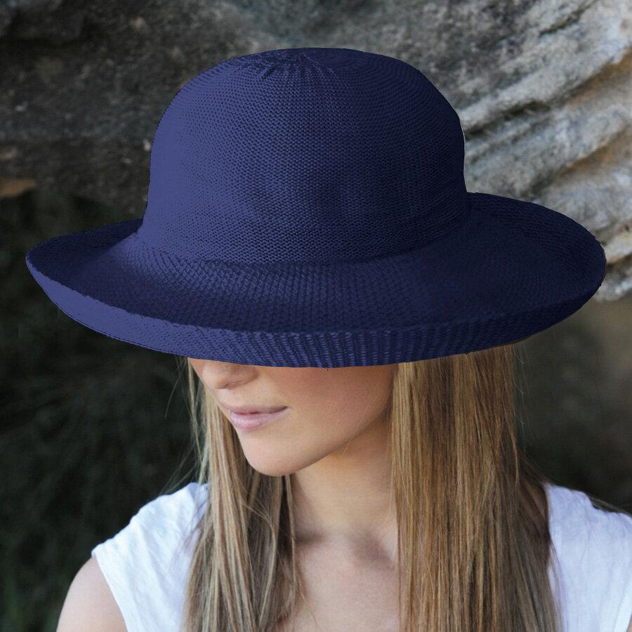 UVカット 帽子 レディース uv つば広(女性用)- シルエットスタイル レデイース ladies レディス ウィメンズ 夏 uv カラー:ネイビー※紫外線カット(UVカット)最高値UPF50+ ハット 母の日 ギフト