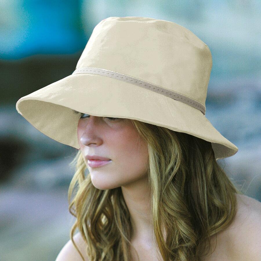 【アウトレット】 UVカット 帽子 (女性用) - レディース ハット 夏 - コットン ワイド ブリム バケット カラー:アリボリー ※紫外線カット(UVカット)最高値UPF50+ 母の日 ギフト