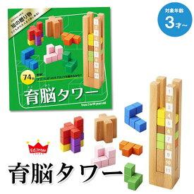 知育玩具 3歳 木製 パズル おもちゃ 送料無料 (北海道・沖縄は対象外) 育脳タワー エドインター 出産祝い