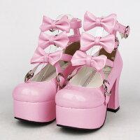 【サイズ有22.0/22.5/23.0/23.5/24.0/24.5/25.0/25.5/26.0/26.5/27.0】メイド靴ロリータ靴女の子リボン付きパンプスストラップレディースシューズロリィタお嬢様レトロロリータファッション大きいサイズdi642f0f0q1/代引き不可05P24Dec15