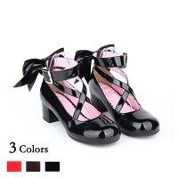 メイド靴ロリータ靴女の子リボン付きパンプスストラップレディースシューズロリィタお嬢様ロリータファッション小さいサイズ可愛い女の子用フォーマルお茶会di028g4