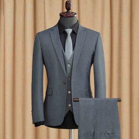 【サイズ有S/M/L/XL/2XL/3XL】1ボタンスリムスーツ ビジネススーツ シングル メンズスーツ 紳士服 suit ベスト付き グレー スーツ メンズ大きいサイズおしゃれスーツ 春 夏 細身 結婚式 オシャレ グレー ブラック dg031g4g4d4/代引き不可