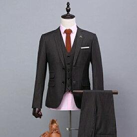 【サイズ有S/M/L/XL/2XL/3XL】2ボタンスリムスーツ メンズスーツ スリーピース メンズスーツ スリム ビジネススーツ シングル ストライプ 紳士服 suit ベスト付き メンズ大きいサイズおしゃれスーツdg597f0f0f0/代引き不可 02P09Jul16