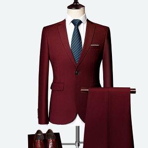 【サイズ有M〜6XL】1ボタンスリムスーツビジネススーツシングルメンズスーツ紳士服suitベスト付きスーツメンズ大きいサイズおしゃれスーツ春夏秋細身結婚式オシャレスーツ/代引き不可
