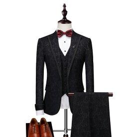 【期間限定!マスクプレゼント中】ビジネス スーツ カジュアル 結婚式 面接 ベスト付き 刺繍 メンズ スリム 就活 紳士服 suit 細身 高級感 おしゃれ スリム体型 フォーマル ブラック【M/L/XL/2XL/3XL】代引き不可