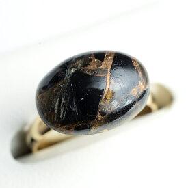 カッパーオブシディアンの真鍮リング オーバル14×10mm 天然石 指輪 日本製 パワーストーン レディース 女性用【7号~15号程度 2サイズのフリーサイズリング】