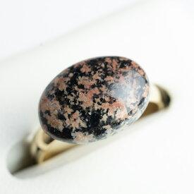 フラワーオブシディアンの真鍮リング オーバル14×10mm 天然石 指輪 日本製 パワーストーン レディース 女性用【7号~15号程度 2サイズのフリーサイズリング】
