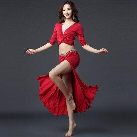 ダンス衣装 着痩せ 上下セット ベリーダンス 社交ダンス セクシー ヨガウェア ベリーダンス衣装 ヒップホップ ラテンダンス レッスン着